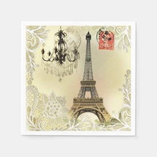 chandelier floral lace vintage paris eiffel tower napkin