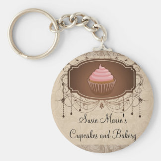 Chandelier Frame Cupcake Pink and Brown Damask Keychain