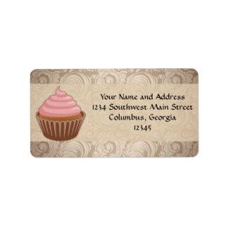 Chandelier Frame Cupcake Pink and Brown Damask Address Label