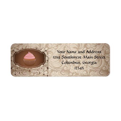 Chandelier Frame Cupcake Pink and Brown Damask Label