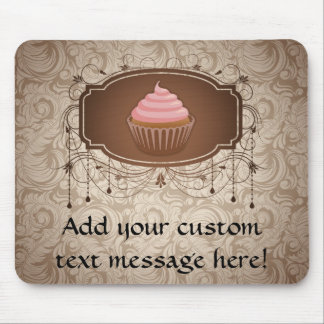 Chandelier Frame Cupcake Pink and Brown Damask Mouse Pads