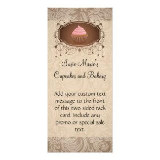 Chandelier Frame Cupcake Pink and Brown Damask Rack Card