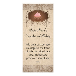 Chandelier Frame Cupcake Pink and Brown Damask Rack Card Template