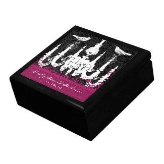 Chandelier Fuchsia Vintage Bird Damask Anniversary giftbox