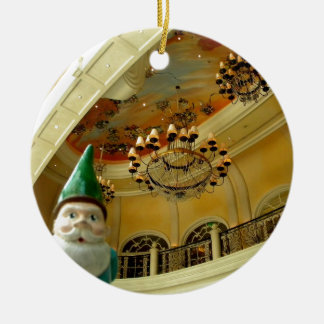 Chandelier Gnome Double-Sided Ceramic Round Christmas Ornament