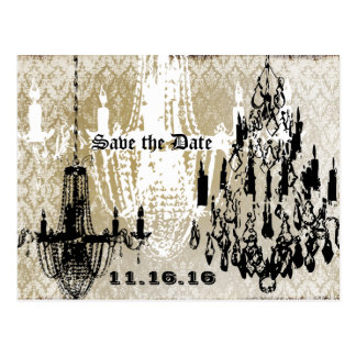 Chandelier Gold Black and White Distressed Damask Postcard