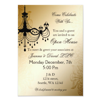 Chandelier Gold elegant Corporate party Invitation