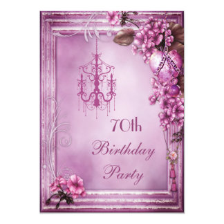 Chandelier, Heart & Flowers 70th Birthday Party 5x7 Paper Invitation Card