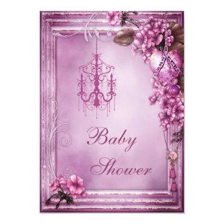 Chandelier, Heart & Flowers Frame Baby Shower Custom Invitation