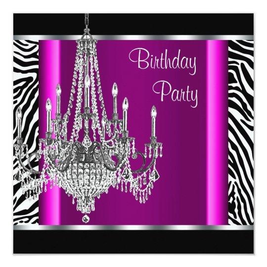 Chandelier Hot Pink Zebra Birthday Party Card