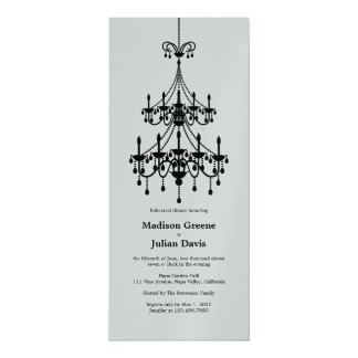 Chandelier in Metallic Silver Rehearsal Dinner Card
