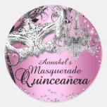 Chandelier Masquerade Pink Quinceanera Sticker