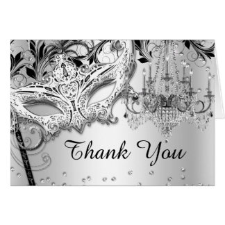 Chandelier Masquerade Silver Thank You Card