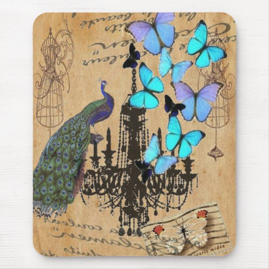 chandelier modern vintage peacock blue butterfly mouse pad