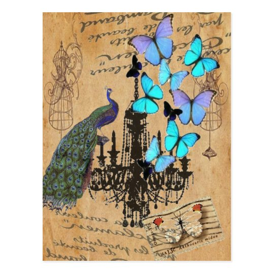 chandelier modern vintage peacock blue butterfly postcard