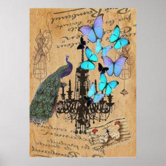 chandelier modern vintage peacock blue butterfly poster