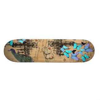 chandelier modern vintage peacock blue butterfly skateboard deck