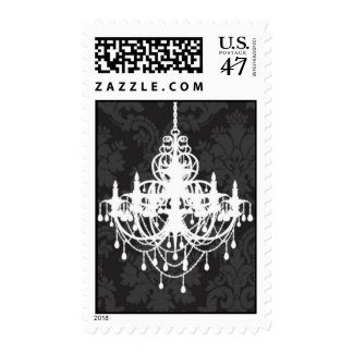Chandelier on Damask background Postage