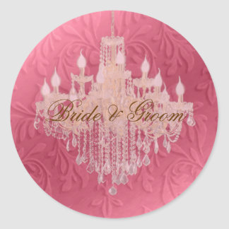 Chandelier on pink champagne baroque faux velvet stickers