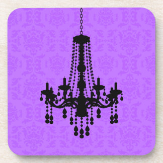 Chandelier on Purple Damask Coaster