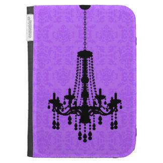 Chandelier on Purple Damask Kindle Case