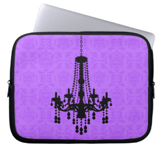 Chandelier on Purple Damask Laptop Sleeve