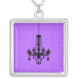 Chandelier on Purple Damask Necklace