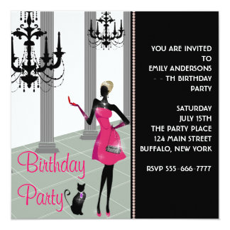Chandelier Party Dress Any Number Girls Birthday Card