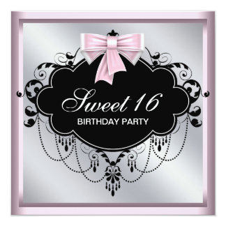 Chandelier Pink Black Sweet 16 Birthday Party Card