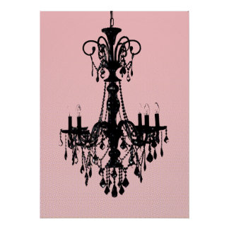 Chandelier & Pink Poster