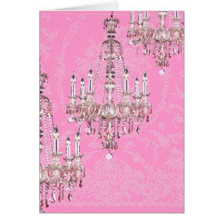 Chandelier~Pink Sparkling French Style Card