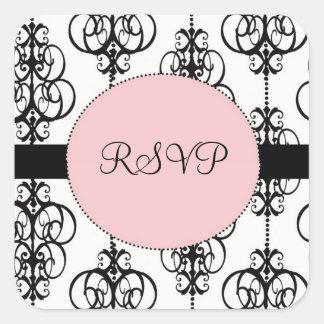Chandelier Pink Square RSVP Wedding Envelope Seals