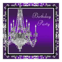 Chandelier Purple Damask Birthday Party Invitation
