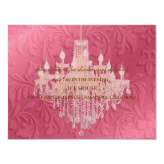 "Chandelier,  reception cards 4.25"" x 5.5"" invitation card"