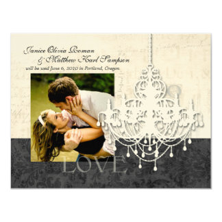 """Chandelier Save the Date Announcements 4.25"""" X 5.5"""" Invitation Card"""