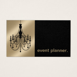 Chandelier Silhouette Event Planner metallic pearl Business Card