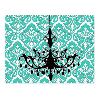 Chandelier Silhouette Teal Damask Postcard