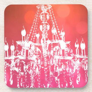 Chandelier Sparkling Pink Drink Coaster