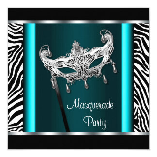 Chandelier Teal Blue Zebra Masquerade Party Personalized Invitations