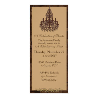 Chandelier Thanksgiving Invitations