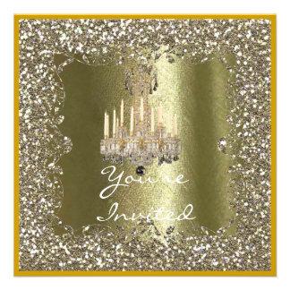CHANDELIER WEDDING Gold GLITTERHoliday Invitation