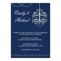 Chandelier Wedding Invitation Blue