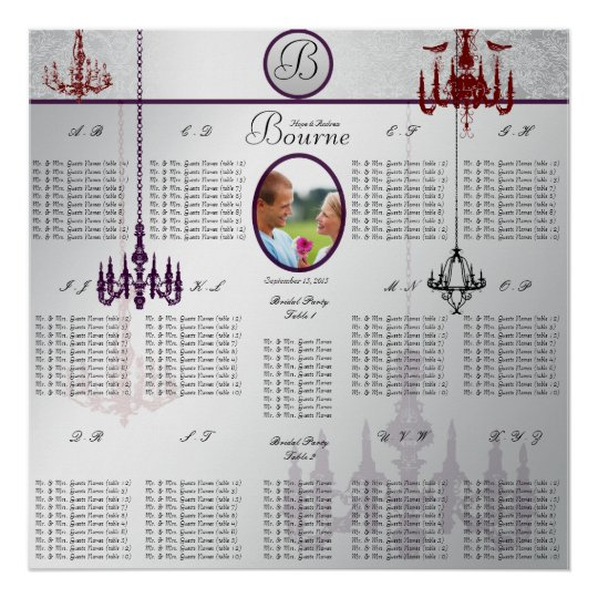 Chandelier Wedding Photo Seating Chart