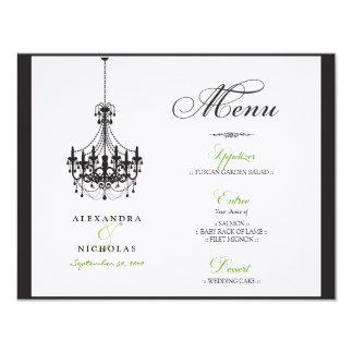 "Chandelier Wedding Reception Menu Invites 4.25"" X 5.5"" Invitation Card"