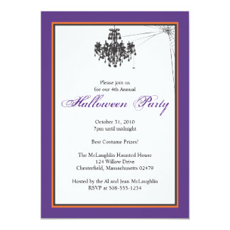 Chandelier with Cob Web Halloween Party Card