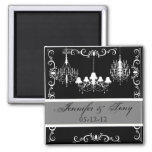 Chandeliers Black and Gray Names and Date Magnet