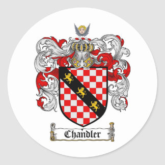 CHANDLER FAMILY CREST -  CHANDLER COAT OF ARMS CLASSIC ROUND STICKER