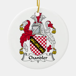 Chandler Family Crest Double-Sided Ceramic Round Christmas Ornament