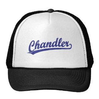 Chandler script logo in blue trucker hat