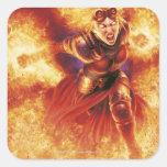 Chandra ardiendo calcomanias cuadradas